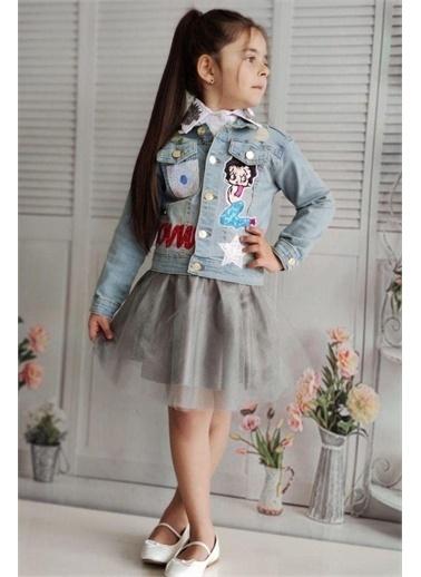 Riccotarz Kız Çocuk Low Kot Ceketli Kabarık Etekli Takım Gri